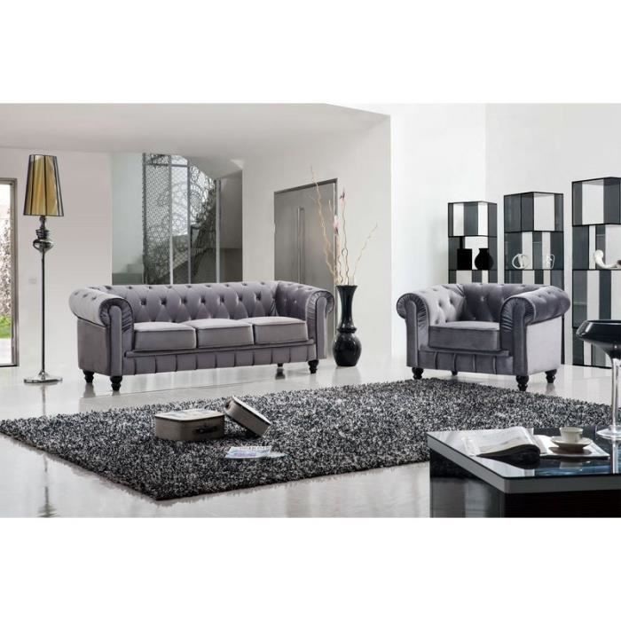 canap chesterfield 3 1 fauteuil velours gris achat. Black Bedroom Furniture Sets. Home Design Ideas