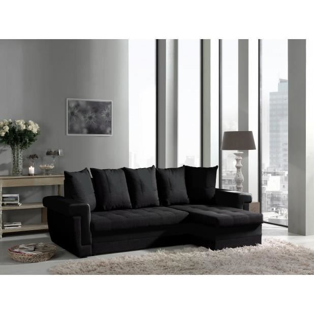 Canap d 39 angle convertible noir tulum achat vente canap sofa div - Canape d angle convertible noir ...