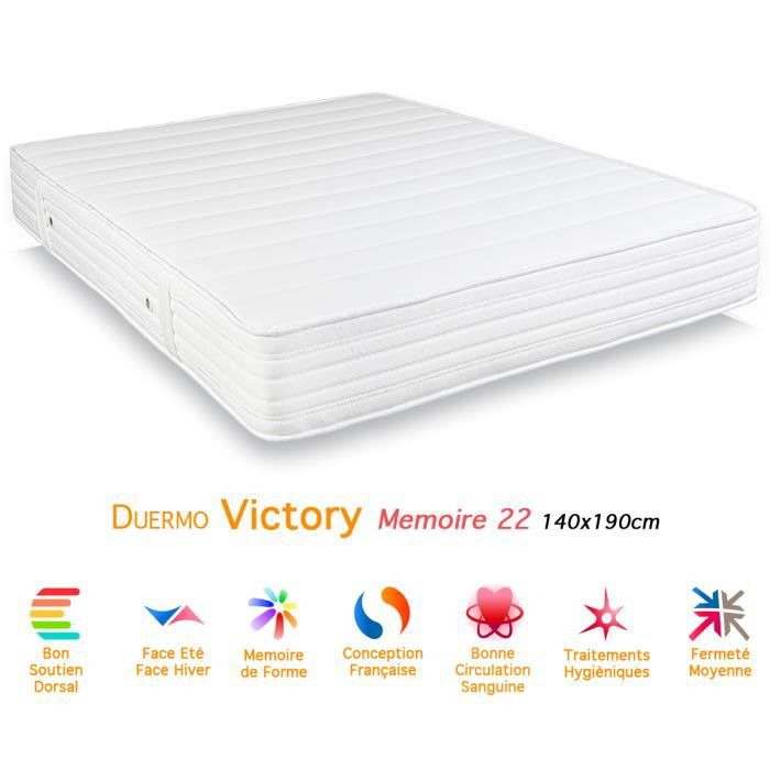 matelas duermo victory m moire de forme 22 140x190 achat vente matelas cdiscount. Black Bedroom Furniture Sets. Home Design Ideas
