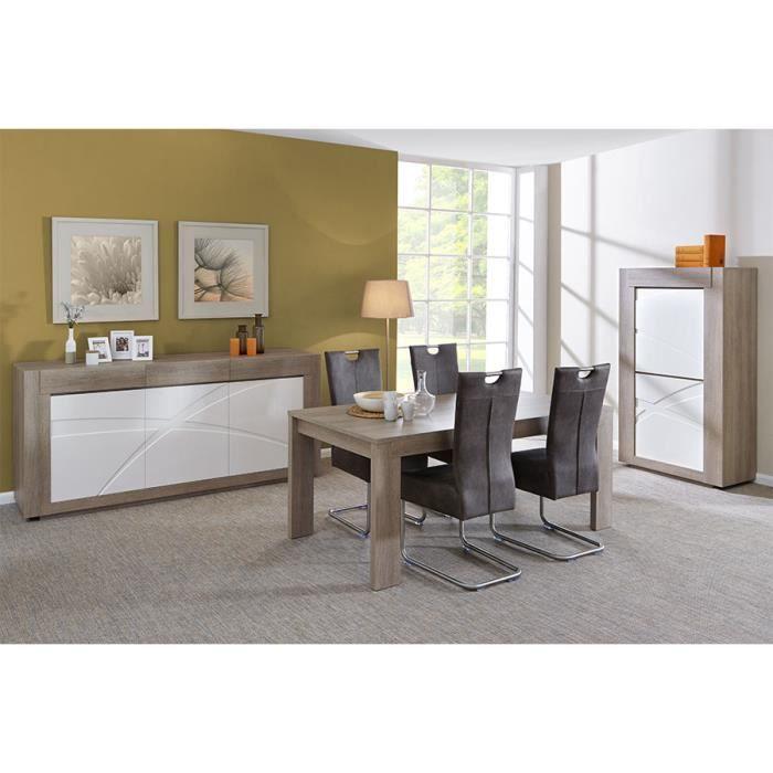 Salle à manger complète moderne blanc laqué et bois gris ...