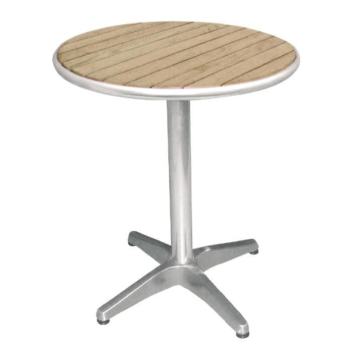 Table bistro ronde en aluminium et plateau en fr ne 60 cm for Table 7 bistro