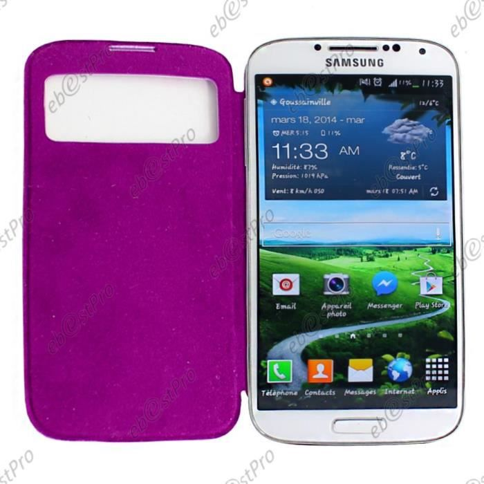Ebeststar housse view violet samsung galaxy s4 achat for Housse samsung galaxy s4