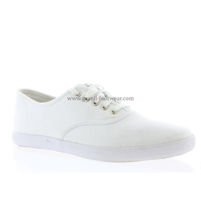 chaussure keds en toile blanche blanc white achat vente basket cdiscount. Black Bedroom Furniture Sets. Home Design Ideas