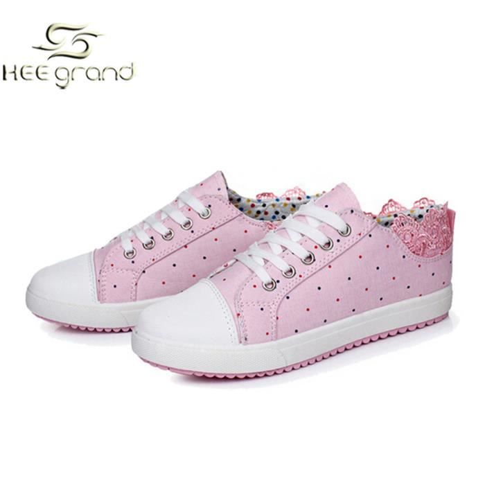 e249093ce HEE GRAND Femme Fille Chaussures Sneakers Basse... Rose - Achat ...