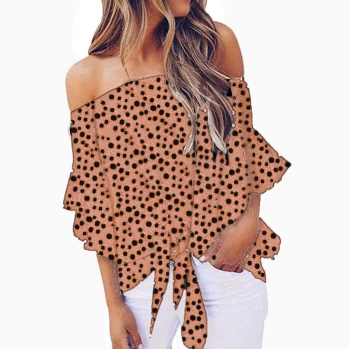 T-SHIRT Impression Off Dot Women épaule T-shirt à manches
