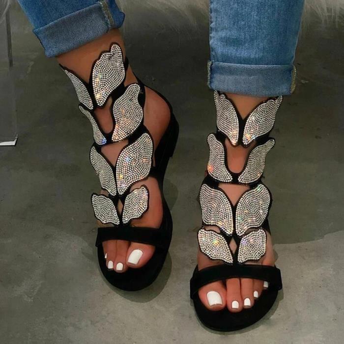 Eté Femmes Casual Crystal Bout Ouvert Strass Sandales Talon Bas Chaussures