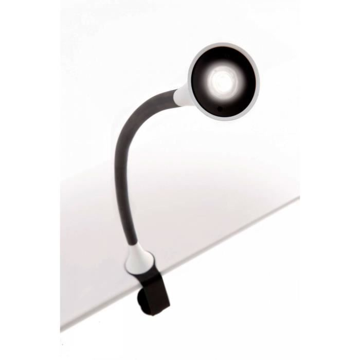 lampe de bureau led philips avec clip gris noir achat vente lampe de bureau led philips. Black Bedroom Furniture Sets. Home Design Ideas