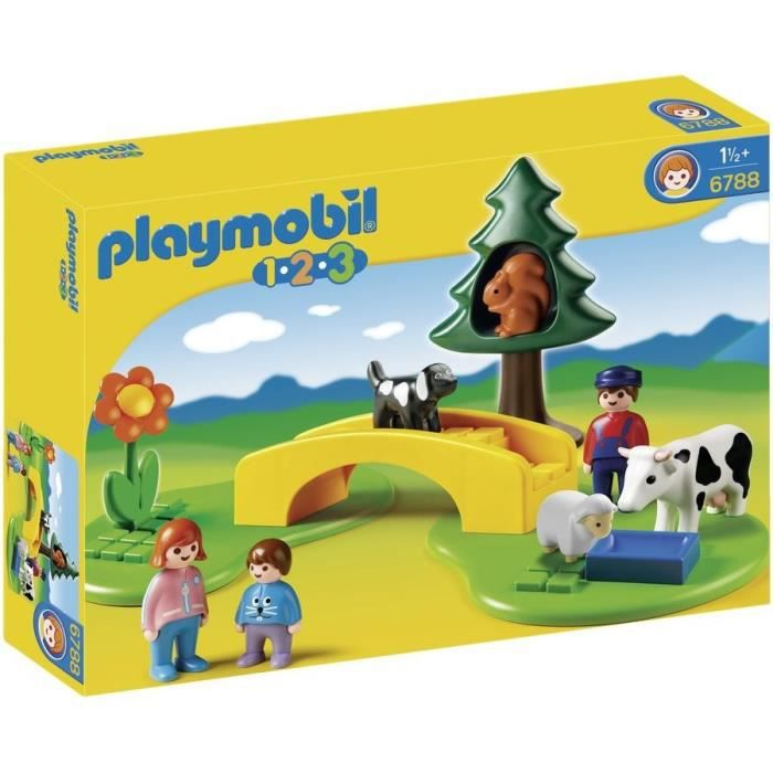 playmobil 1 2 3 6788 famille avec animaux prairie achat. Black Bedroom Furniture Sets. Home Design Ideas