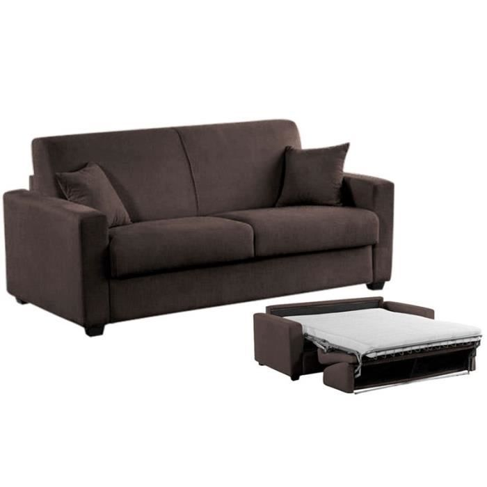 canap convertible milano microfibre marron 140cm achat vente canap sofa divan. Black Bedroom Furniture Sets. Home Design Ideas