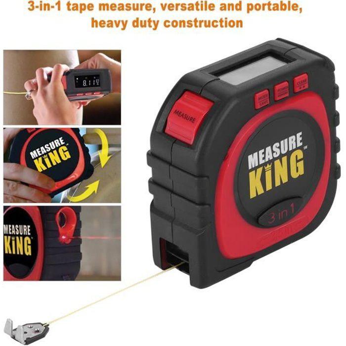 Ruban M/ètre Num/érique 3 en 1 Corde /à Mesurer Roller et Laser Measure King SHOP STORY