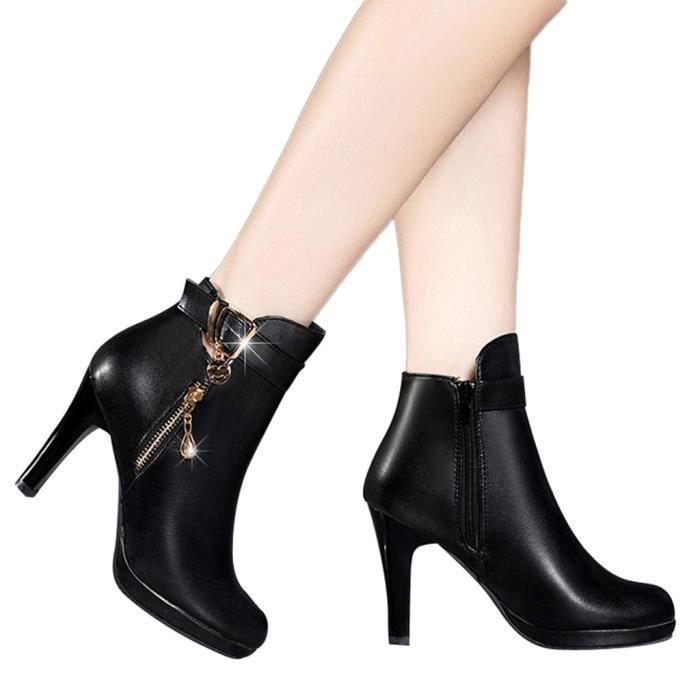 Femmes Chaussures à talon tube court botte en cuir zippée Solide Couleur Chaussures à bout rond Noir