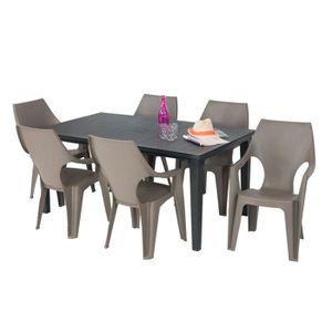 SALON DE JARDIN  Salon de jardin: table   graphite + 6 fauteuils