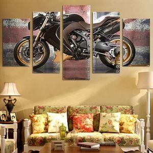 TABLEAU - TOILE No Frame tableau toile peinture  5 Panneau Moto Po