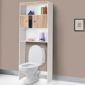 TIROIR COULISSANT PROBACHE Meuble étagère wc - Coloris hêtre