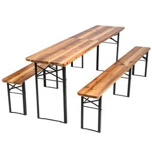 SALON DE JARDIN  TECTAKE 1 Table et 2 Bancs en Bois de Jardin Plian