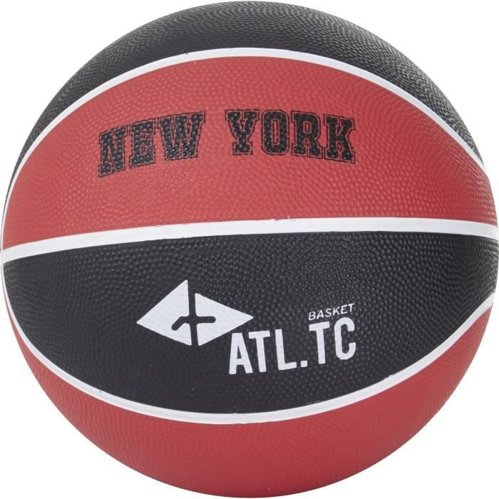 ATHLI-TECH Ballon de basket-ball New York - Taille 5 - Noir et rouge