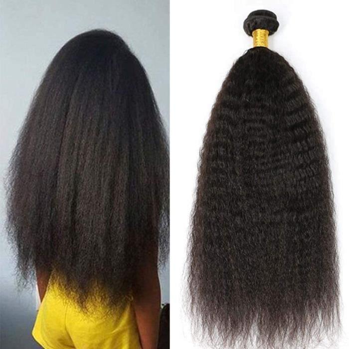 Tissage Kinky Straight Perruque Cheveux Humains Naturels Tissage Brésilien Kinky Yaki Straight Human Hair Weaves (1PCS 12pouces)