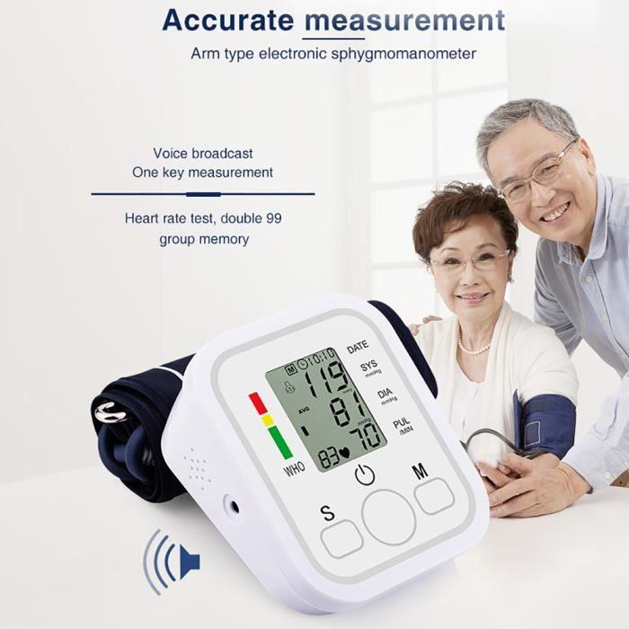 Moniteur de pression artérielle Type de bras Diffusion vocale LCD Test de fréquence cardiaque Testeur de pression artérielle