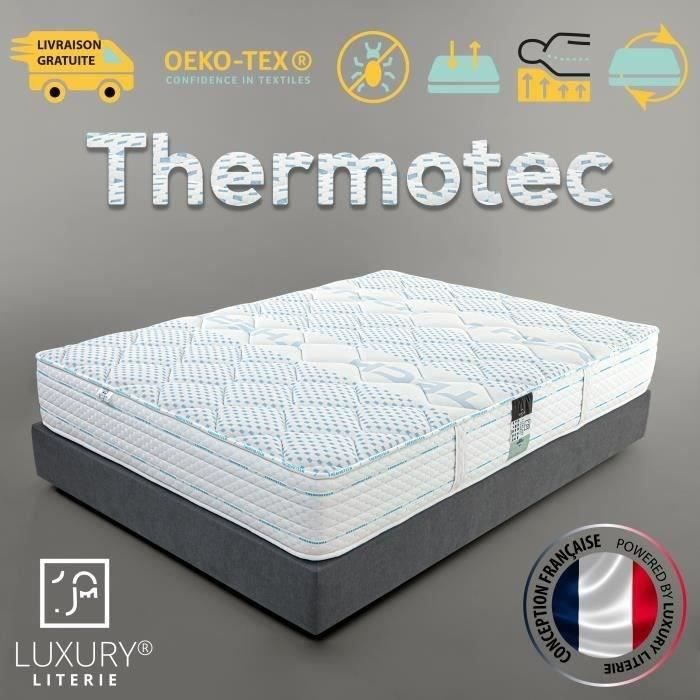 Matelas THERMOTEC 140x190 cm, mousse à mémoire de forme, haute adaptabilité, indépendance du couchage, ergonomique, reversible, 24