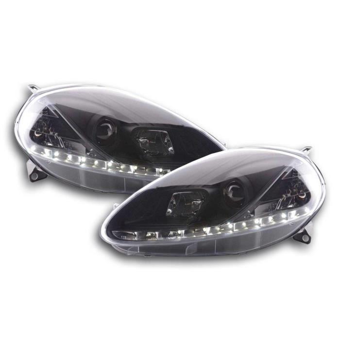 Paire de feux phares Daylight Led Fiat Grande Punto 199 08-12 Noir-33578170