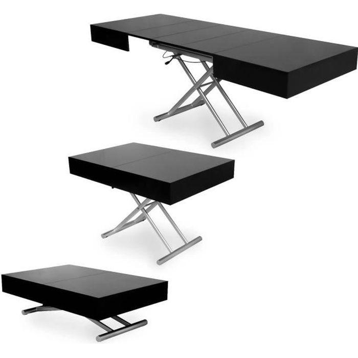 CIARA - Table basse laquée noir relevable extensible