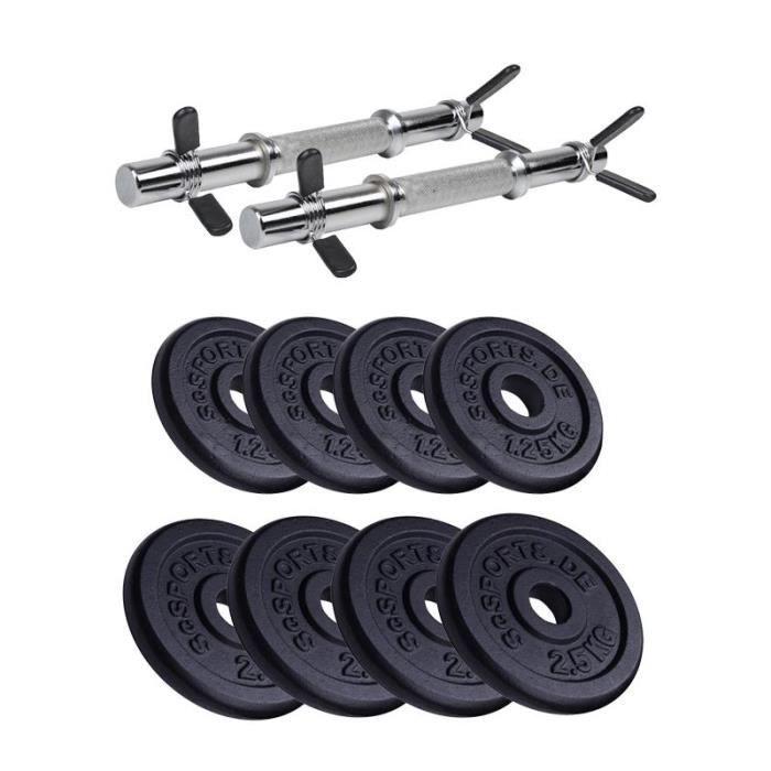 halteres de 20 kg sans filetage avec 4x1,25 4x2,5 kg plaques de poids en fonte