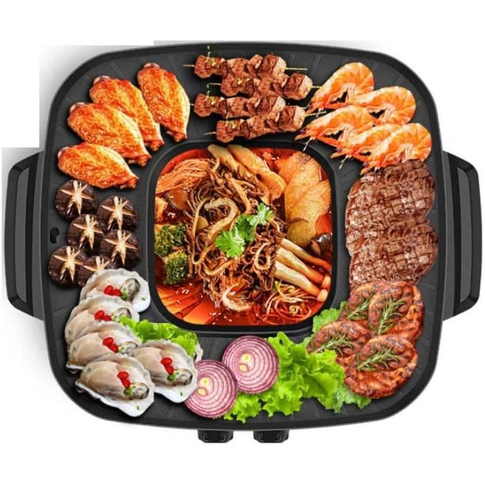 Fikujap Barbecue Électrique Multifonction Hot Pot Coréen Style BBQ Poke Hot Pot Antiadhésifs Puissant Stovetop Grill Pot Double
