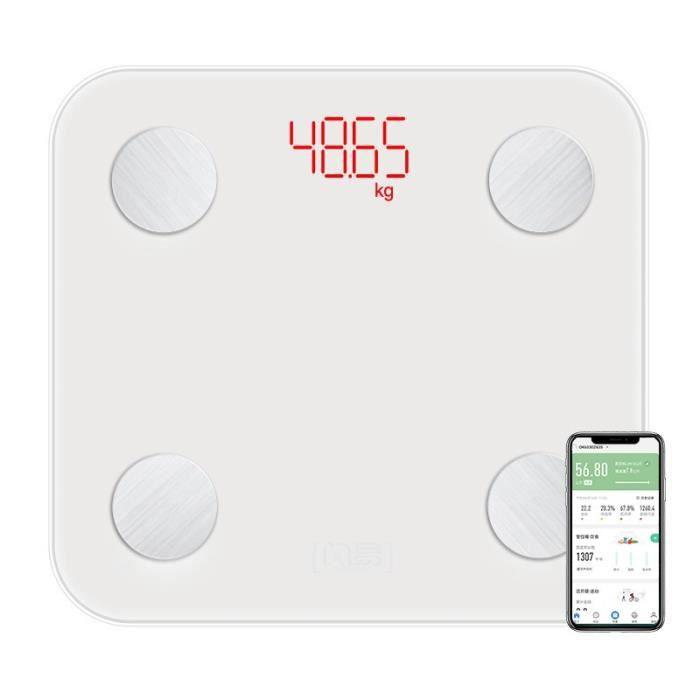 Pèse Personne Impédancemètre Balances Numériques Charge de Batterie Analyseur De Santé BMI Mesurer Poids Santé - Blanc