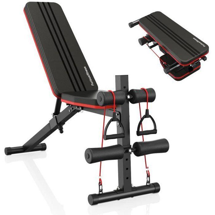 Banc de Musculation Pliable Multifonction, banc de Fitness Abdominal, Réglable Abdominaux et Dorsaux Inclinable 0 - 180°