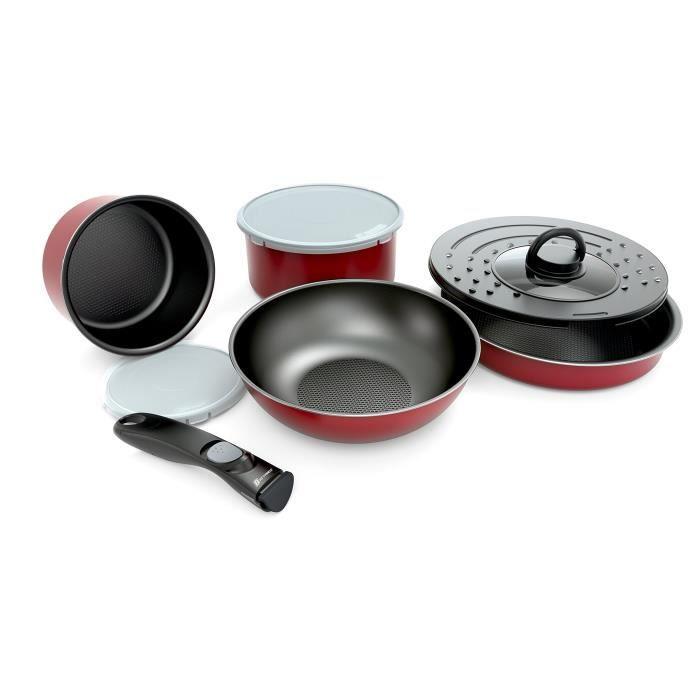 BACKEN Set de poêles et casseroles avec poignée amovible - Set 8 Pièces Rouge -Tous feux dont induction