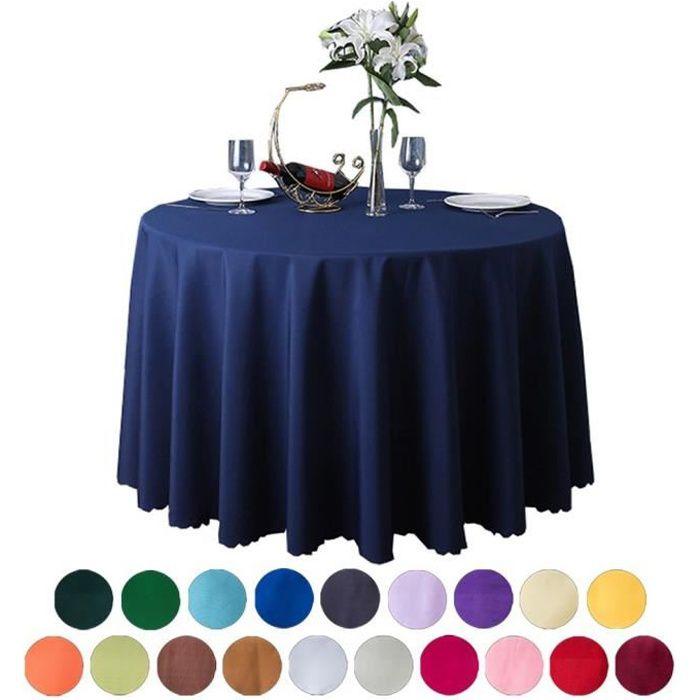 Nappe de Table Ronde en Polyester pour Restaurant Jardin Pique-Nique Bleu Marine Diamètre 2.4m