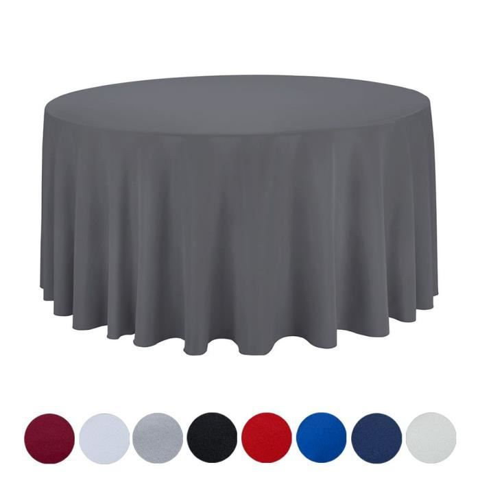 Nappe de Table en Polyester Ronde Couleur Uni Pour Mariage Restaurant Gris Diamètre 230cm