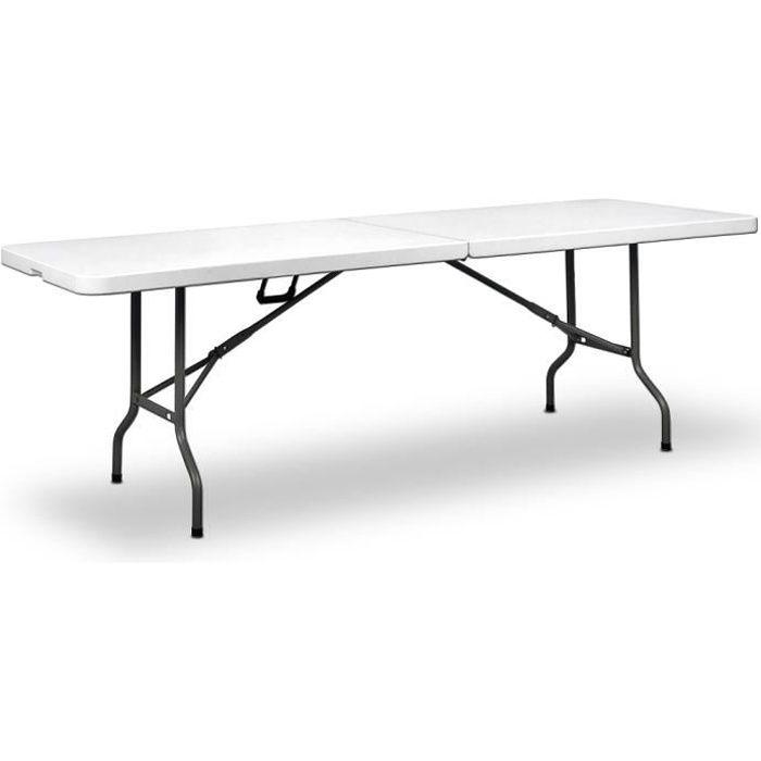 Table de Jardin Blanc Pliable 220x70x72cm Plastique poignée de Transport Buffet Table Pliante réception Table Camping Anniversaires