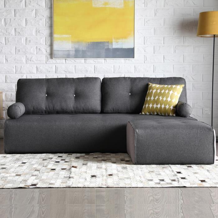Brooklyn gris foncé-gris clair : Canapé modulable 3 places + 1 pouf gris foncé-gris clair