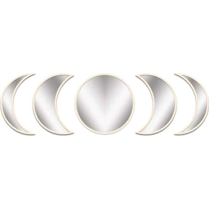 Lune Miroirs Phase de mur en bois acrylique Ornement Miroirs Intérieur Décor Design naturel pour chambre