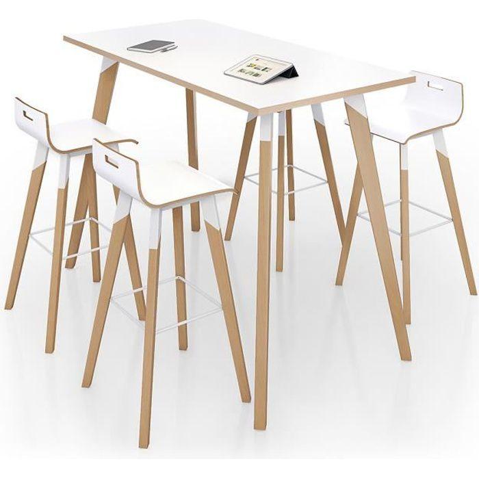 EOL - Table haute rectangulaire Evasion 160 x 80 cm -Plateaux Stratifié blanc - table appoint scandinave bois blanc métal design