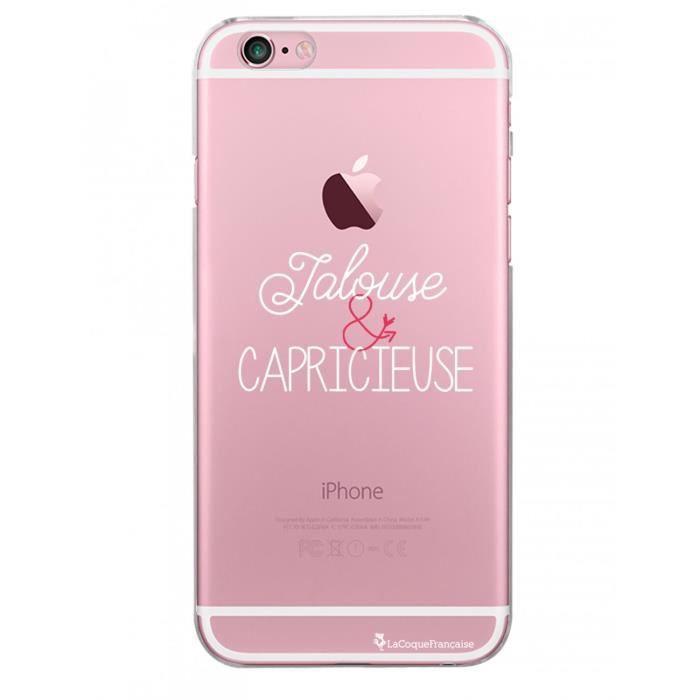 Coque iPhone 6 iPhone 6S rigide transparente Jalouse et capricieuse blanc Ecriture Tendance et Design La Coque Francaise