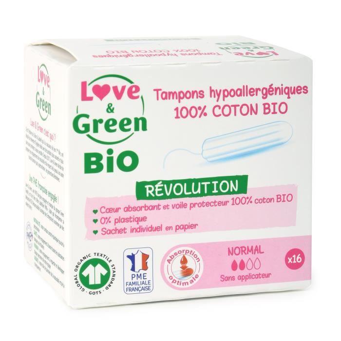 LOVE & GREEN Tampons hypoallergéniques - 100% coton BIO certifiés GOTS - -NORMAL- Digital - 16 tampons