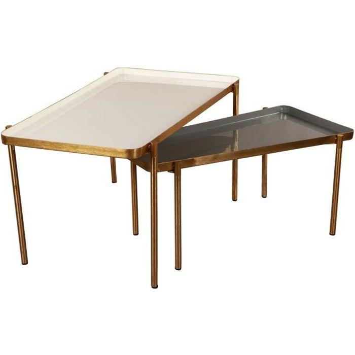 Miliboo - Tables basses gigognes laquées blanc et gris foncé (lot de 2) ZURIA