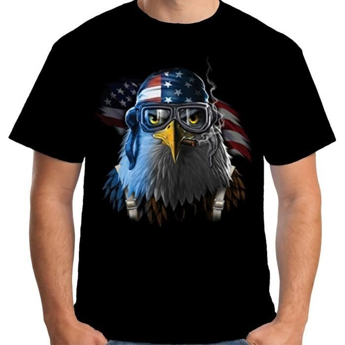 VelociTee Shirt Homme Tee Shirt American Eagle Fighter Pilot Hero Coton Homme Manche Courte Tee Shirt