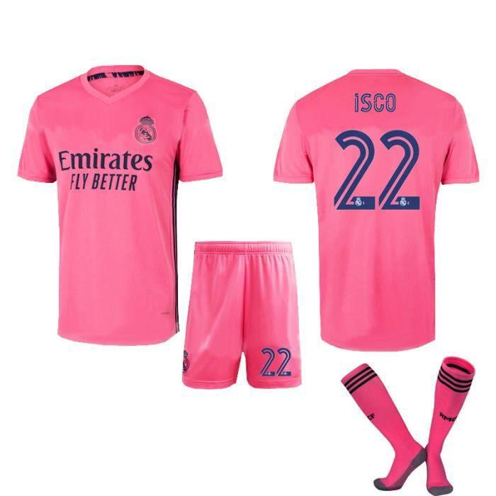 22S Nouveau maillot 20-21 Ligue des champions de l'UEFA Real Madrid No. 7 Azhar Football Jersey Set Kids Male Adult Customized Team