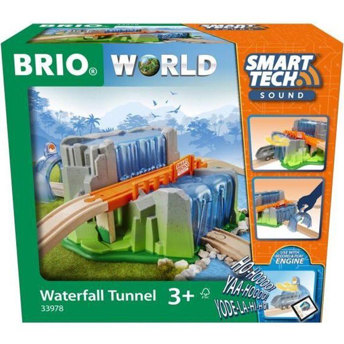 Brio World Pont & Tunnel Cascade Smart Tech Sound - Accessoire STEM pour circuit de train en bois - Ravensburger - Dès 3 ans - 33978