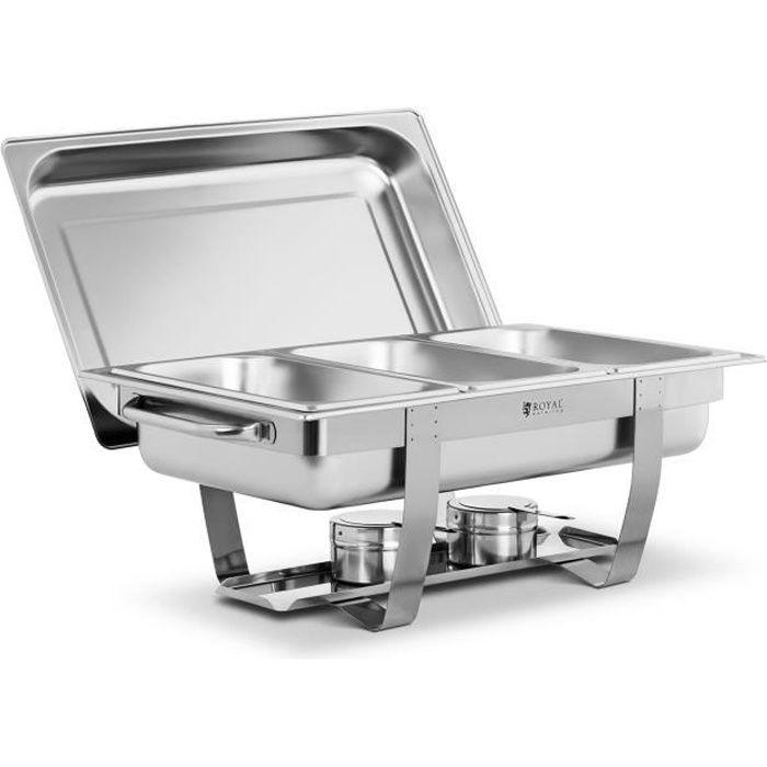 Machine à bain-marie Chafing Dish Réchaud Professionnel Buffet Royal Catering RCDB-1-3P-65 (7 l 3 Bacs GN 1-3 2 Brûleurs Inox)