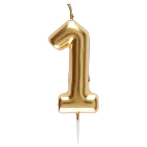 Bougie dorée avec chiffre 1 pour décoration gâteau anniversaire (x1) REF/6933