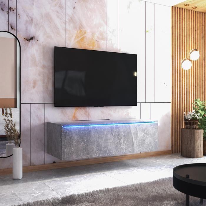 Meuble TV - SKYLARA - 140 cm - béton - style moderne - avec LED