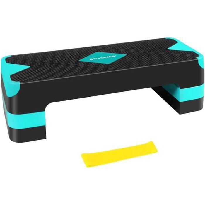 SONGMICS Step de fitness, Stepper d'aérobic, réglable sur 3 hauteurs (10-15-20 cm), Marche d'exercice, Noir et Bleu STE684Q01
