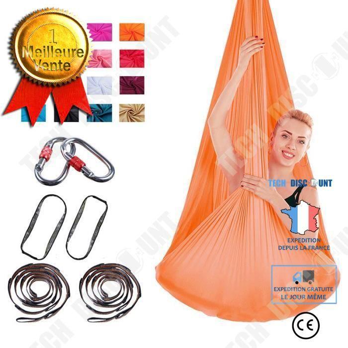 TD® Accessoires Fitness - Musculation,Yoga aérien hamac volant Yoga ceinture soie balançoire Anti gravité formation - Type Orange
