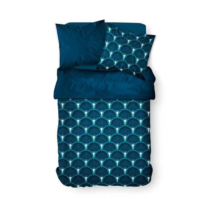 Housse de couette 240x260 Sunshine Tone + 2 taies 100% coton 57 fils Bleu