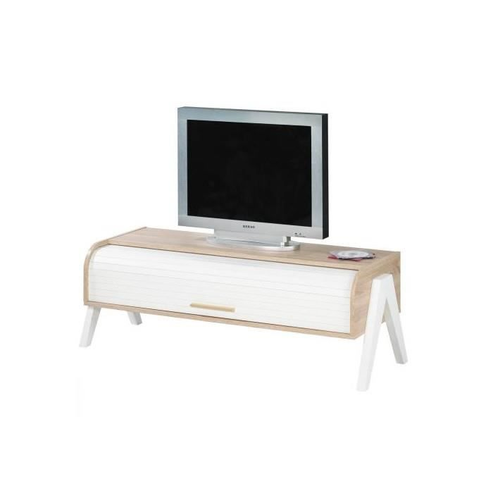 meuble tv vintage 119 cm chene blanc achat vente meuble tv meuble tv vintage 119 cm cdiscount. Black Bedroom Furniture Sets. Home Design Ideas