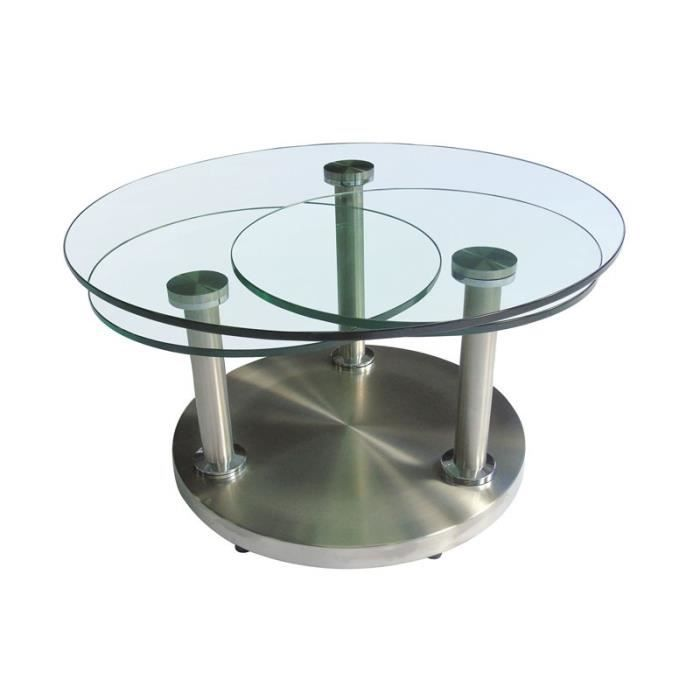 Table basse articul e verre et m tal trygo achat for Tables basses de salon en verre